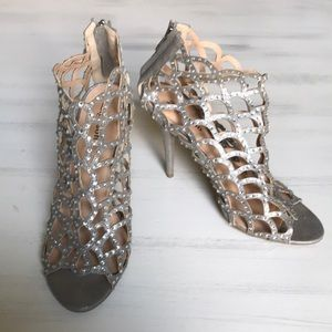Zigi Soho peep toe silver cut out bootie